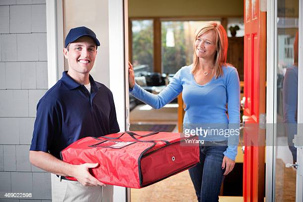 Pizza Delivery Man Delivering Box to Customer at Front Door