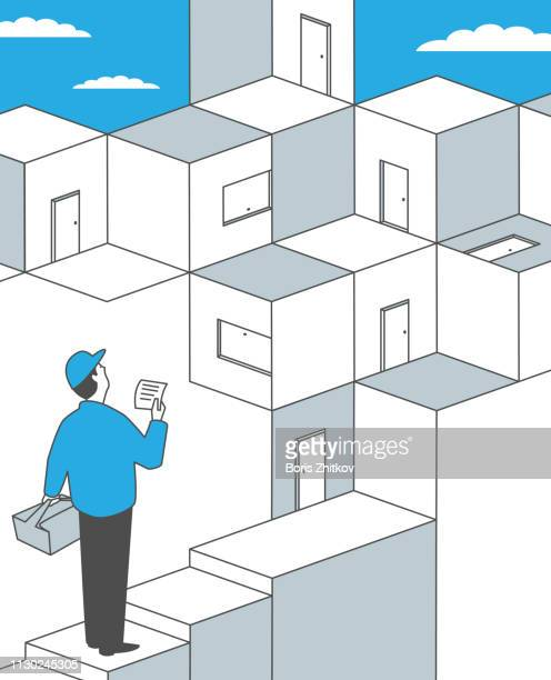 pizza delivery - isometric projection stock photos and pictures