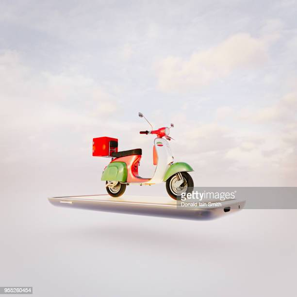 Pizza delivery scooter on mobile phone