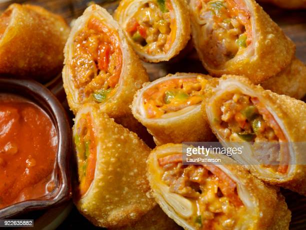Pizza Egg Rolls with Sausage, Pepperoni and Peppers