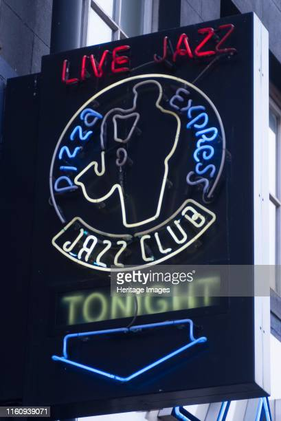Pizza Express Jazz Sign indicating the location of the Jazz Club at Pizza Express Dean Street London W1 England Artist Ethel Davies