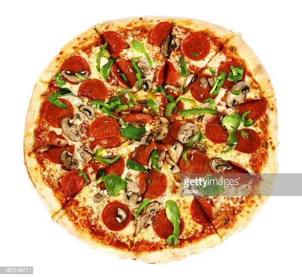 pizza from the top - deluxe - pepperoni pizza stock photos and pictures