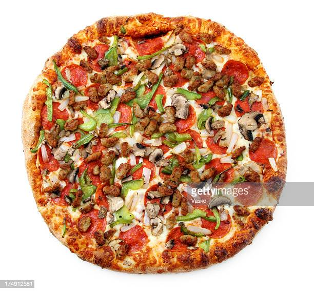 pizza from the top - super deluxeo - pepperoni stock photos and pictures