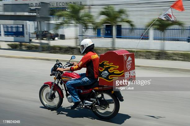 Pizza Hut pizza delivery by motorcycle