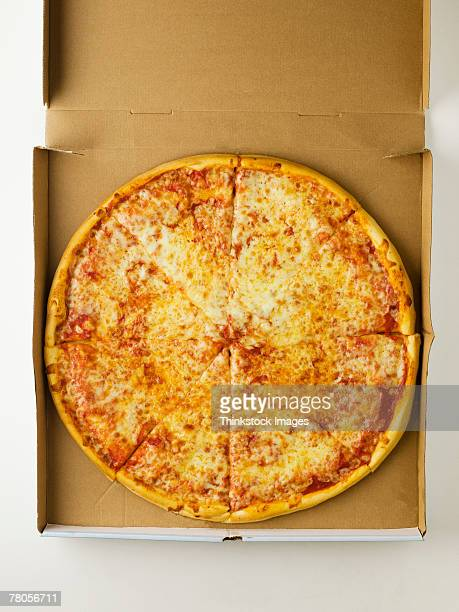 pizza in a box - cheese pizza stock photos and pictures