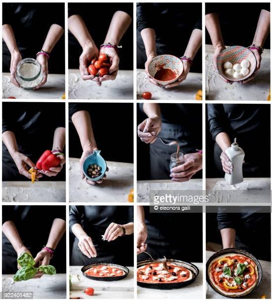 pizza ingredients - mozzarella stock photos and pictures