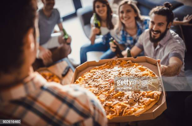 pizza is here! - pizza box stock photos and pictures