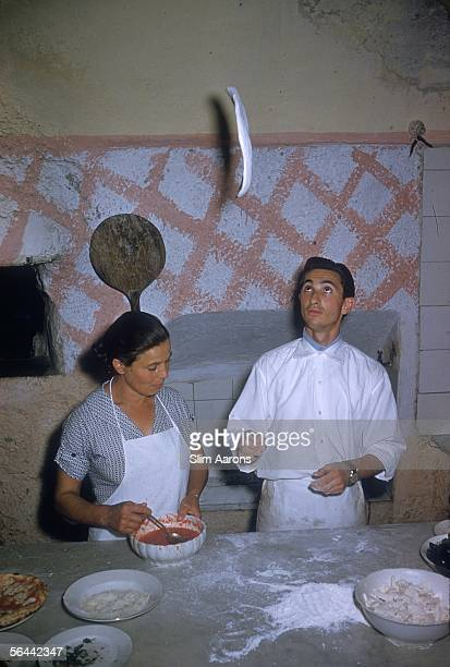 Pizza is made the traditional way at Le Tre Sorelle a pizza restaurant in Positano Campania July 1958