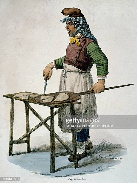 Pizza maker ca 1820 engraving Italy 19th century