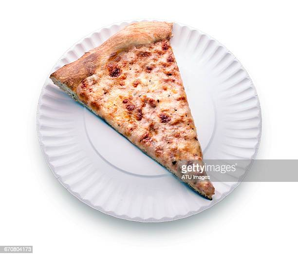 pizza slice on paper plate - paper plate stock photos and pictures