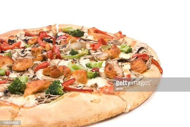 ピザ、チキン、マッシュルーム、コショウ、ブロッコリます。