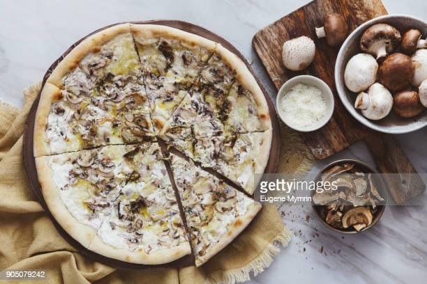 Pizza with field mushrooms, porcini mushrooms, mozzarella and truffle sauce