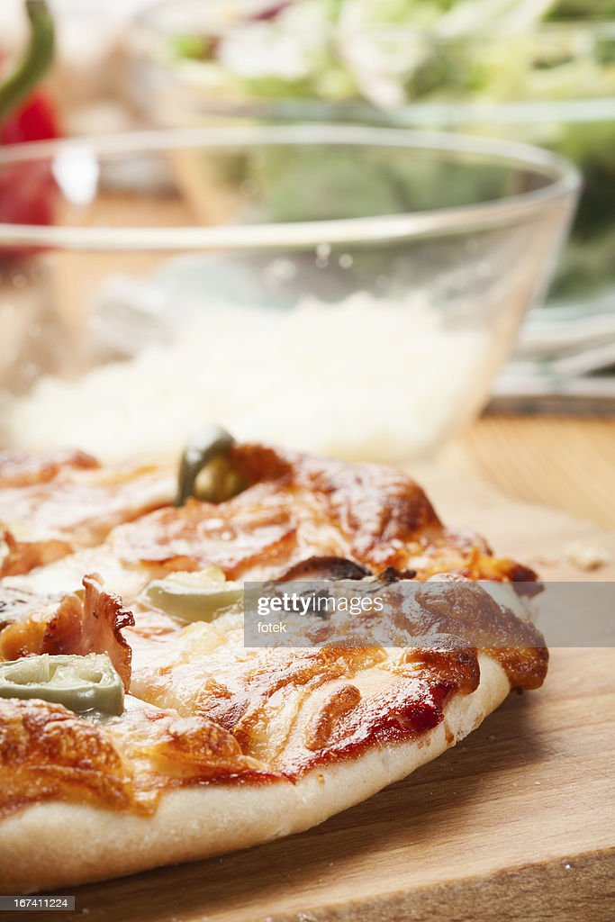 Pizza with ham and cheese : Stock Photo