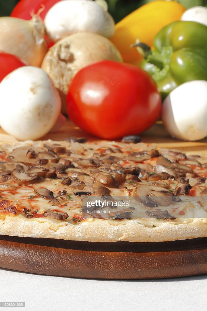Pizza with mushrooms and cheese : Stock Photo