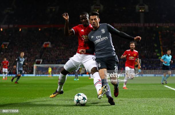 Pizzi of Benfica and Eric Bailly of Manchester United battle for possession during the UEFA Champions League group A match between Manchester United...