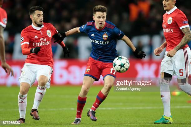 Pizzi of Benfica in action against Alexandr Golovin of CSKA Moscow during the UEFA Champions League Group A soccer match between CSKA Moscow and...