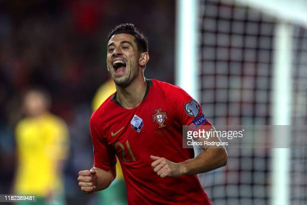 Pizzi of Portugal and SL Benfica celebrates scoring Portugal third goal during the UEFA Euro 2020 Qualifier between Portugal and Lithuania on...