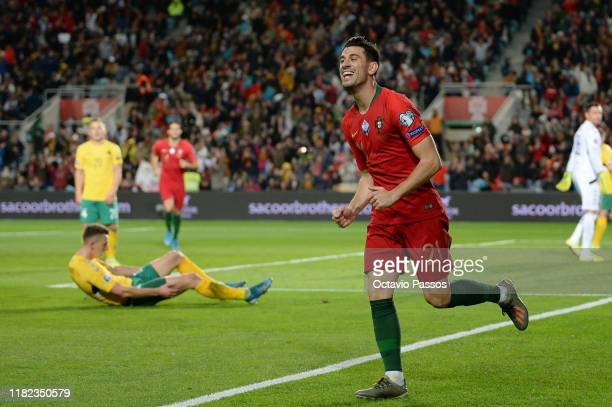 Pizzi of Portugal celebrates after scores the third goal against Lithuania during the UEFA Euro 2020 Qualifier match between Portugal and Lithuania...