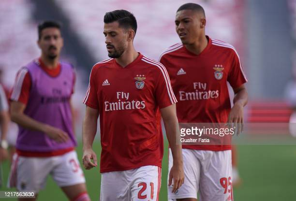 Pizzi of SL Benfica and Carlos Vinicius of SL Benfica in action during warm up before the start of the Liga NOS match between SL Benfica and CD...