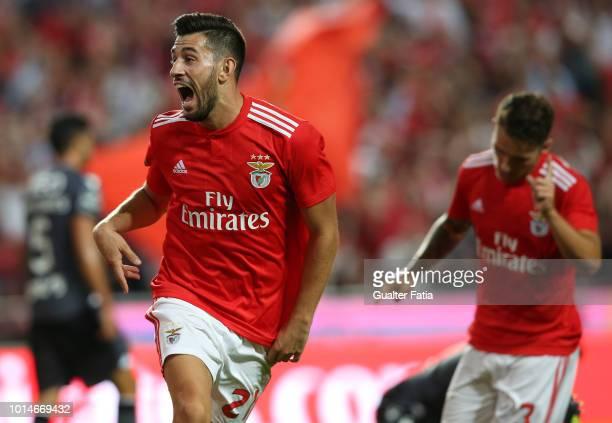 Pizzi of SL Benfica celebrates after scoring a goal during the Liga NOS match between SL Benfica and Vitoria SC at Estadio da Luz on August 10 2018...