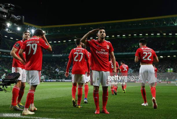 Pizzi of SL Benfica celebrates after scoring a goal during the Liga NOS match between Sporting CP and SL Benfica at Estadio Jose Alvalade on February...