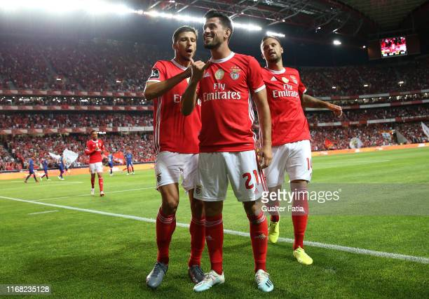 Pizzi of SL Benfica celebrates after scoring a goal during the Liga NOS match between SL Benfica and Gil Vicente FC at Estadio da Luz on September...