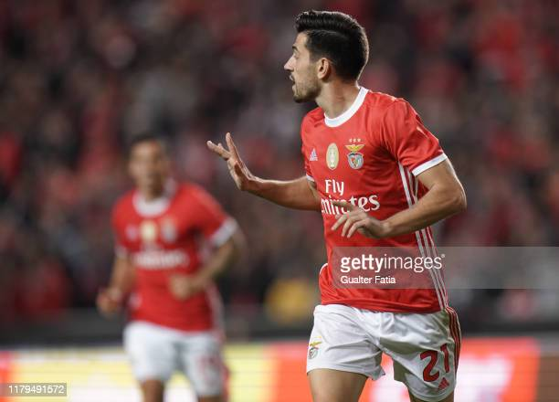 Pizzi of SL Benfica celebrates after scoring a goal during the Liga NOS match between SL Benfica and Rio Ave FC at Estadio da Luz on November 2, 2019...