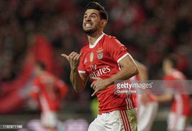 Pizzi of SL Benfica celebrates after scoring a goal during the Liga NOS match between SL Benfica and CD Aves at Estadio da Luz on January 10 2020 in...