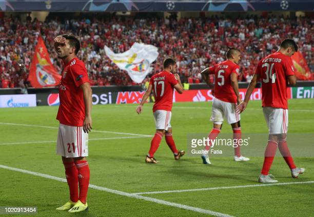Pizzi of SL Benfica celebrates after scoring a goal during the UEFA Champions League Play Off match between SL Benfica and PAOK at Estadio da Luz on...