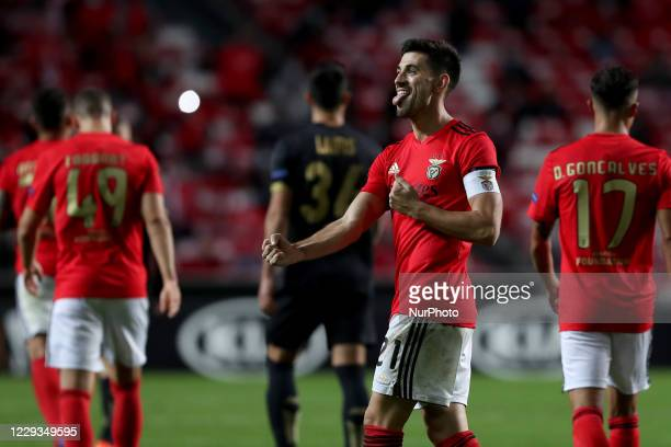 Pizzi of SL Benfica celebrates after scoring his second goal during the UEFA Europa League Group D football match between SL Benfica and Royal...