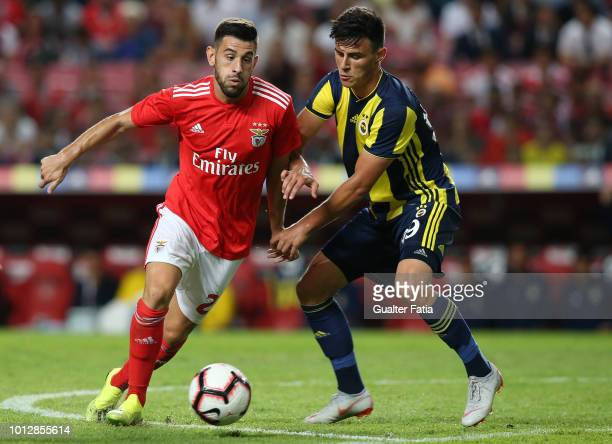 Pizzi of SL Benfica with Eljif Elmas of Fenerbache SK in action during the UEFA Champions League Qualifier match between SL Benfica and Fenerbache at...