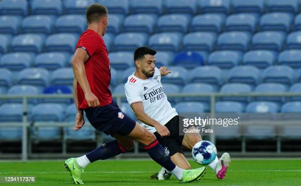 Pizzi of SL Benfica with Sven Botman of LOSC Lille in action during the Pre-Season Friendly match between SL Benfica and Lille at Estadio Algarve on...