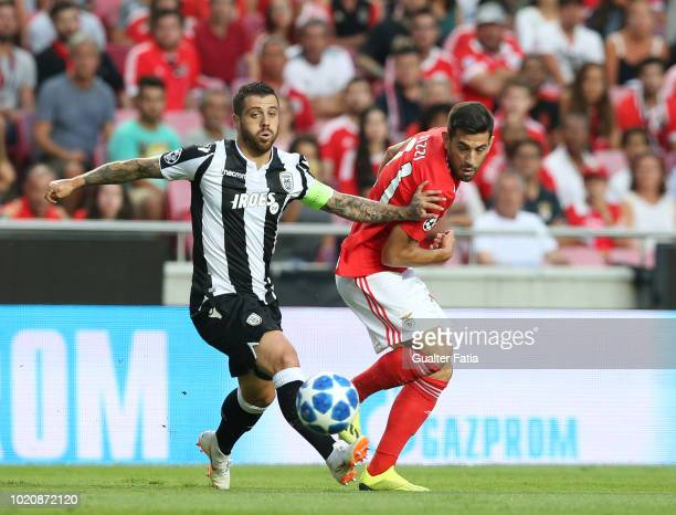 Pizzi of SL Benfica with Vieirinha of PAOK in action during the UEFA Champions League Play Off match between SL Benfica and PAOK at Estadio da Luz on...