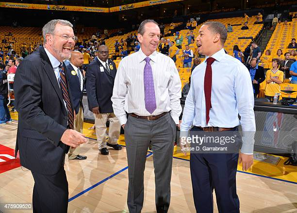 Pj Carlesimo smiles while looking on prior to the game where the Cleveland Cavaliers against the Golden State Warriors at the Oracle Arena During...