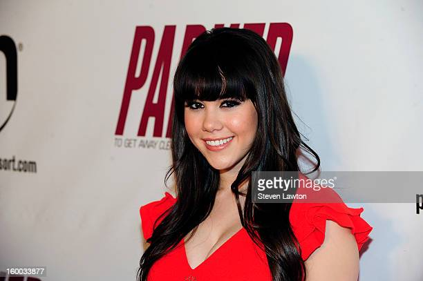 Plaboy Playmate of the Year Claire Sinclair arrives for the premiere of FlimDistrict's 'Parker' at the Planet Hollywood Resort Casino on January 24...
