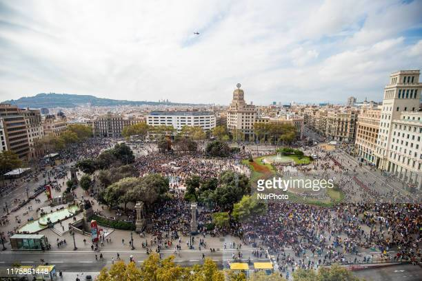 Placa Catalunya of Barcelona full of protesters during a protest following the sentencing of nine Catalan separatist leaders on October 14, 2019 in...