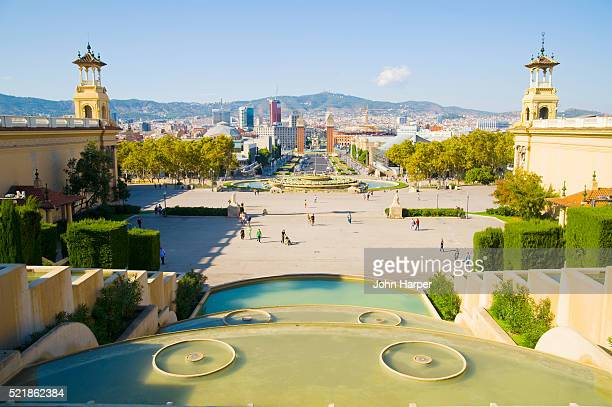 placa d'espanya seen from montjuic hill in barcelona - montjuic stock pictures, royalty-free photos & images