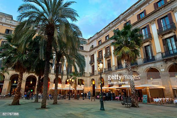 placa reial at twilight, barcelona, spain - the ramblas stock pictures, royalty-free photos & images
