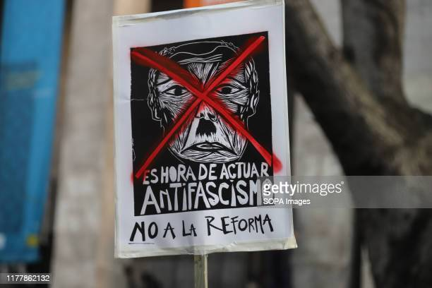 Placard against fascism seen during the no to the reform march in Montevideo. People march against the constitutional reform project which proposes a...