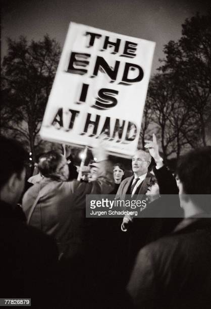 A placard at Speaker's Corner in Hyde Park prophesies the end of the world 1964