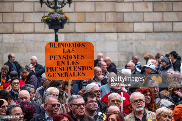 A placard calling for a protection for pensions in the new general budgets is seen among the crowd Hundreds of retirees and pensioners have...