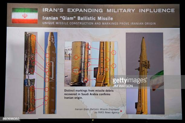 A placard describing pieces of an Iranian Qiam Ballistic Missile on display after US Ambassador to the United Nations Nikki Haley unveiled previously...