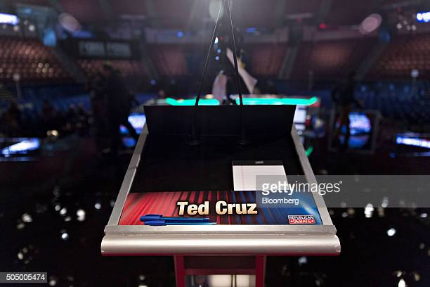 A placard for Senator Ted Cruz a Republican from Texas and 2016 presidential candidate sits on a podium ahead of the Republican presidential...