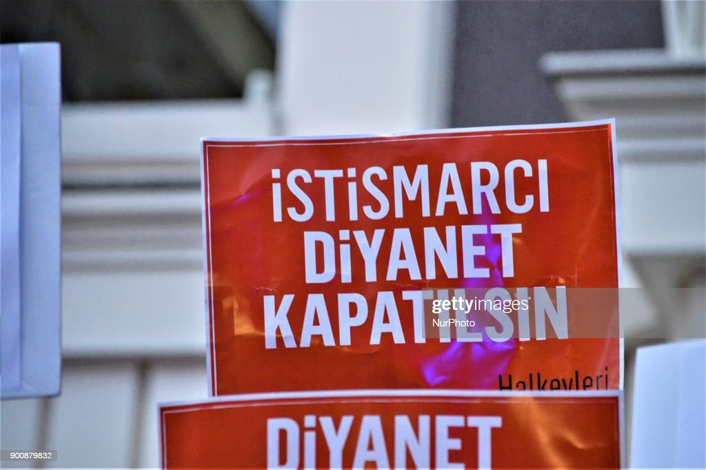 A placard is displayed as demonstrators gathered to protest against Turkey's Presidency of Religious Affairs in Ankara, Turkey on January 3, 2018. The Turkish Presidency of Religious Affairs has stated on its official website that 9-year-old girls and 12-year-old boys are able to get married, the opposition media claimed on January 2.