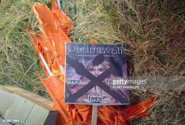A placard lies on the ground during a protest by Indian members of the Rajput community against forthcoming Bollywood film 'Padmavati' in Mumbai on...