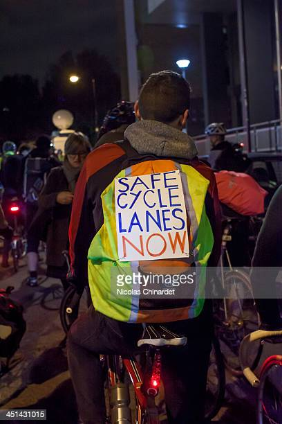 Placard on a protester at the vigil at Bow roundabout to protest 4 cyclists being killed in London within 8 days and the death of the 3rd cyclist in...