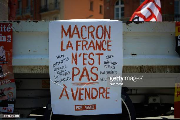A placard reading 'Macron France isn't up to sale ' A quotmaree populairequot demonstration was called by more than 60 political organisations...