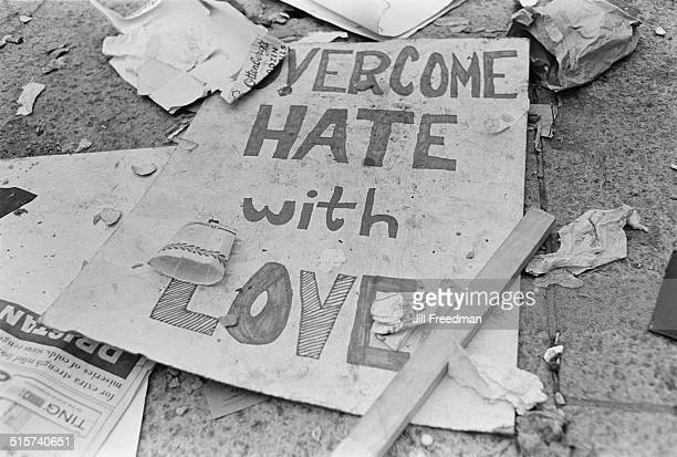 A placard reading 'Overcome Hate with Love' following Solidarity Day in Washington DC during the Poor People's Campaign 1968