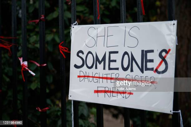 Placard saying 'She is Someone' attached to the fence outside James Allen's Girls' School on March 28, 2021 in London, England. The school's pupils...