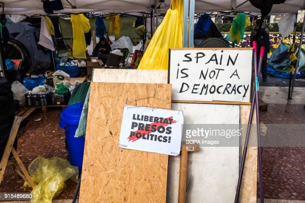 Placard seen next to the tents in the plaza Several tents occupy the Plaza Catalunya in Barcelona to claim Carles Puigdemont as President of...